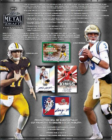 2018 Leaf Metal Draft Football Hobby Box (Sealed)