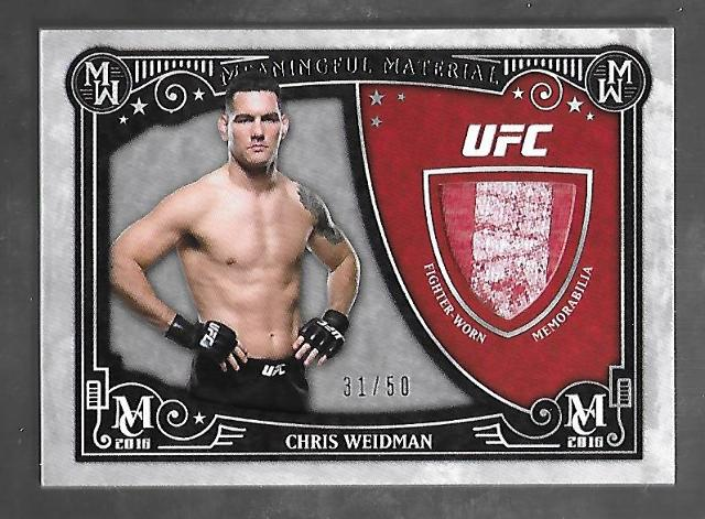 CHRIS WEIDMAN 2016 Topps UFC Museum Collection Meaningful Material swatch /50