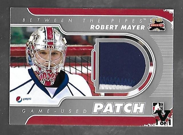 Robert Mayer 2011-12 Vault In the Game ITG Between the Pipes Patch 1/1 (2 color)