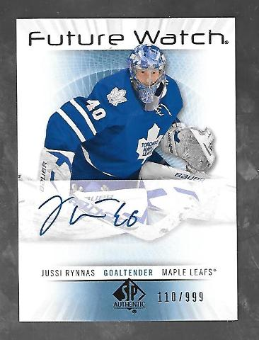 Jussi Rynnas 2012-13 SP Authentic Hockey Future Watch RC Autograph Auto /999