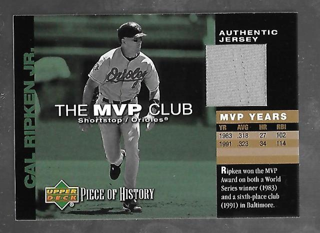 CAL RIPKEN JR 2002 Upper Deck Piece of History The MVP Club gray patch #M-CR