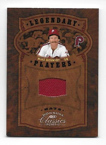 MIKE SCHMIDT 2005 Donruss Classics Legendary Players Red Hat patch 25/25