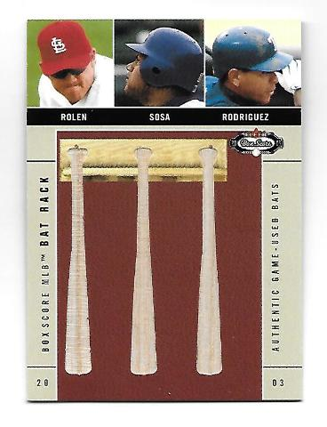 ROLEN/SOSA/RODRIGUEZ 2003 Fleer Box Score MLB Bat Rack game used bat piece /250