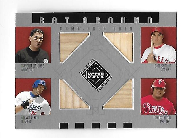 ORDONEZ/SALMON/GREEN/ABREU 2002 Upper Deck Diamond Collection 4 bat piece #BA-OSGA