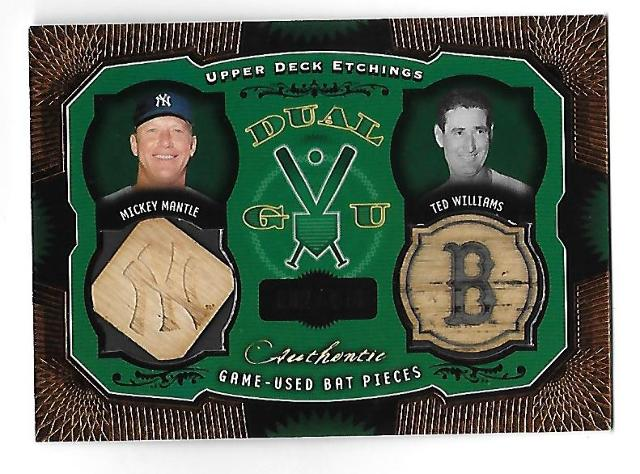 MICKEY MANTLE/TED WILLIAMS 2004 Upper Deck Dual GU bat pieces /150 copper foil