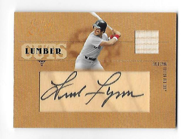FRED LYNN 2005 Donruss Playoff Leather and Lumber auto swatch /96 Boston Red Sox