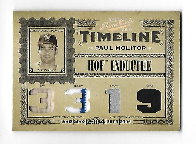 PAUL MOLITOR 2005 Playoff Prime Cuts Timeline HOF Inductee 4 swatch /50