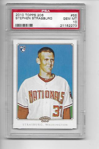 STEPHEN STRASBURG 2010 Topps 206 RC #55 Graded Gem MT 10