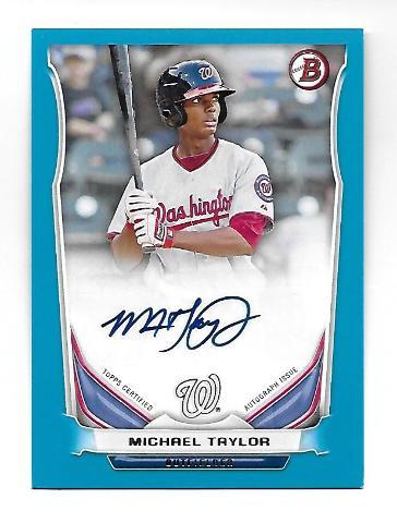 MICHAEL TAYLOR 2014 Topps Bowman Prospects Blue auto autograph /500 Nationals