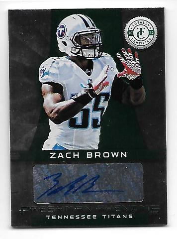 ZACH BROWN 2012 Panini Totally Certified Freshman Phenoms Green auto /5