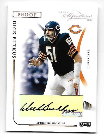 DICK BUTKUS 2004 Playoff Prime Signatures Proof Silver Auto /45 autograph