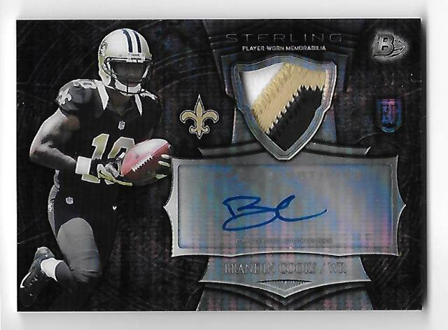 BRANDON COOKS 2014 Bowman Sterling Rookie Auto Relic /25 Patriots Saints