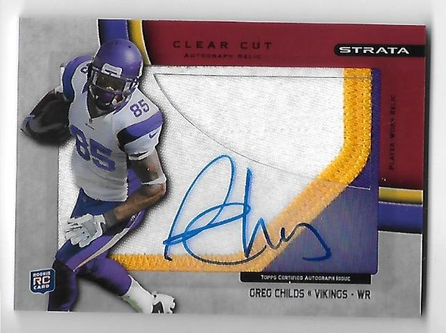 GREG CHILDS 2012 Topps Strata Clear Cut Autograph Jumbo Relic RC /30 auto
