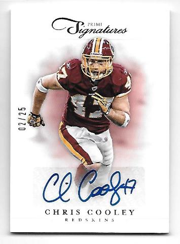 CHRIS COOLEY 2012 Panini Prime Signatures Gold auto /25 Washington Redskins