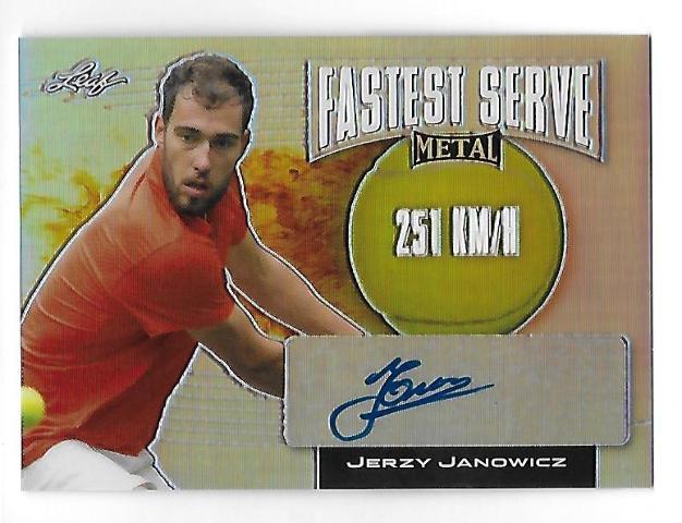 JERZY JANOWICZ 2016 Leaf Metal Tennis Fastest Serve Prismatic Auto autograph