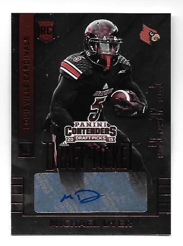 MICHAEL DYER 2015 Panini Contenders Draft Picks Rookie RC auto Print Run 50