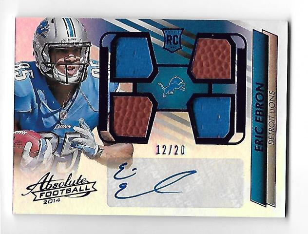 ERIC EBRON 2014 Absolute Rookie Premiere Materials Jersey Ball patch auto /20