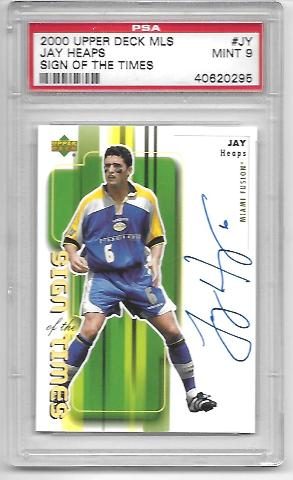 JAY HEAPS 2000 Upper Deck MLS Sign of the Times #JH PSA MT 9