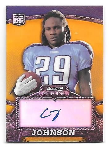 CHRIS JOHNSON 2008 Bowman Sterling Gold Rookie auto /400 Tennessee Titans
