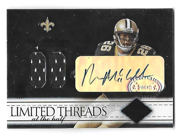 DEUCE McALLISTER 2004 Leaf Limited Threads at the Half patch auto /50 Saints