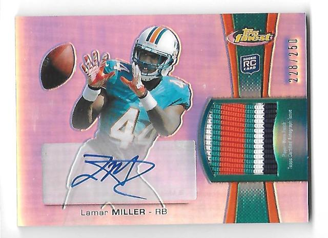 LAMAR MILLER 2012 Finest Rookie Patch Autographs Refractors patch auto RC /250