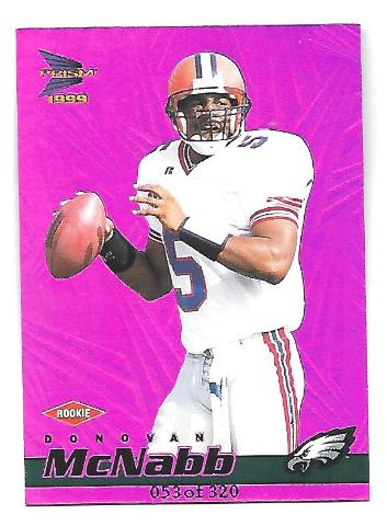 DONOVAN McNABB 1999 Pacific Prism Holographic Purple RC /320 rookie Eagles