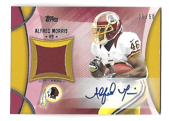 ALFRED MORRIS 2013 Topps Relics Autograph gold auto /50 Redskins Cowboys