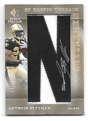 ANTONIO PITTMAN 2007 Upper Deck SP Rookie Threads Letterman Black patch auto /25