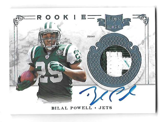 BILAL POWELL 2011 Panini Plates & Patches Rookie Name Plate Prime patch auto /25