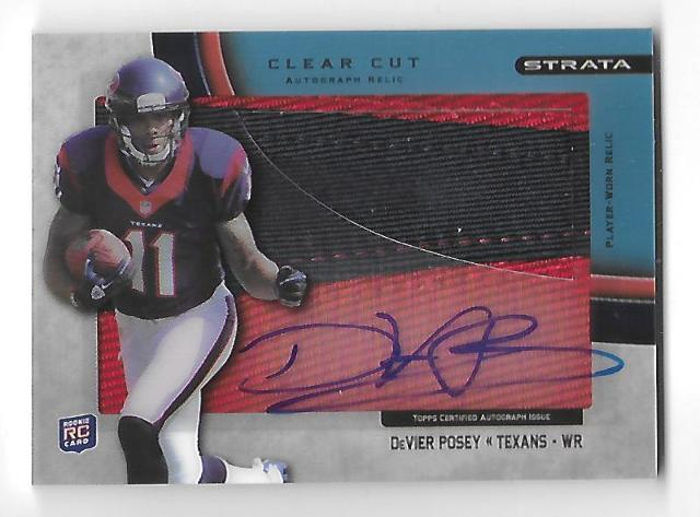 DeVIER POSEY 2012 Topps Strata Clear Cut Rookie Relic Autograph RC Blue auto /75