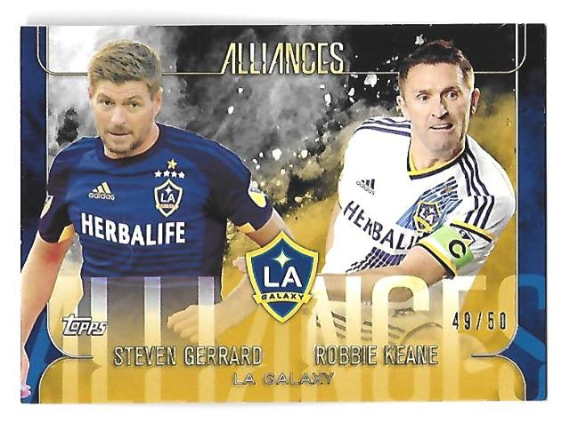 STEVEN GERRARD/ROBBIE KEANE 2015 Topps Apex MLS Alliances Gold /50 LA Galaxy