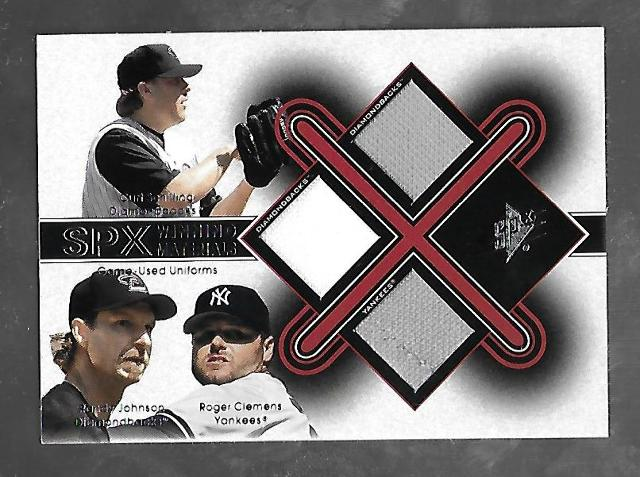 SCHILLING/JOHNSON/CLEMENS 2001 UD SPX Winning Materials 3 patch #SJC