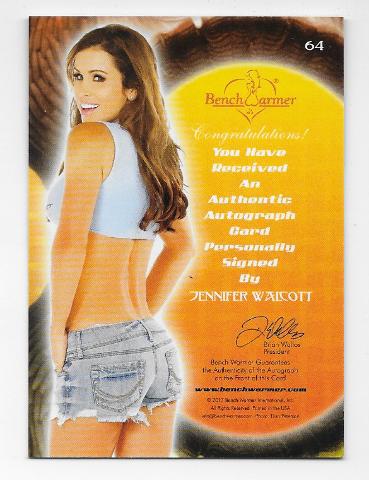 Jennifer Walcott 2013 Benchwarmer Thanksgiving auto #64 jean shorts