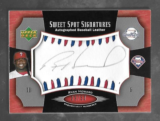 RYAN HOWARD 2005 Upper Deck Sweet Spot Signatures auto blue red stitch /50