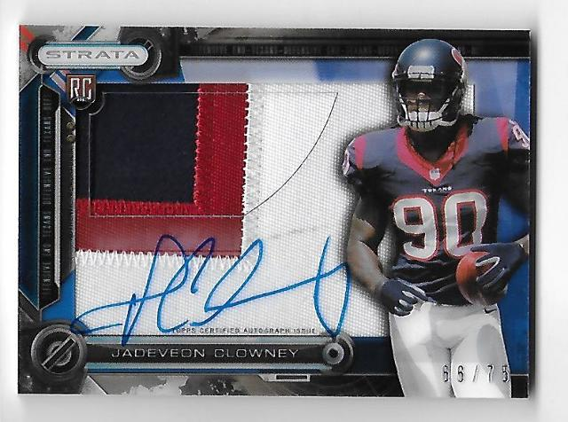JADEVEON CLOWNEY 2014 Topps Strata Clear Cut Autograph Sapphire Relic RC/75 auto