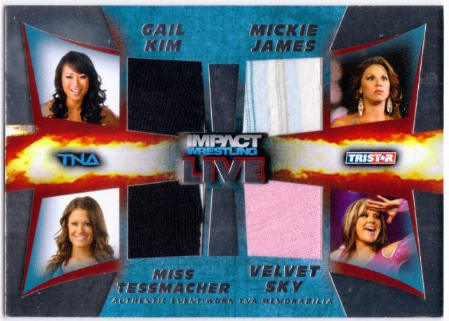 GAIL KIM MICKIE JAMES VELVET SKY TESSMACHER 2013 TNA Impact Quad Relic Card /199