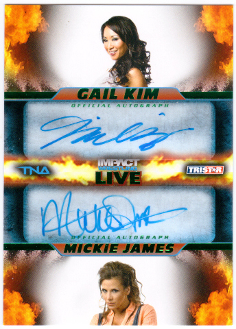 GAIL KIM MICKIE JAMES 2013 TNA Impact Dual Green Auto Card /50 Signed Card #11