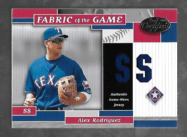 ALEX RODRIGUEZ 2002 Leaf Certified Fabric of the Game SS patch /50 Game Worn