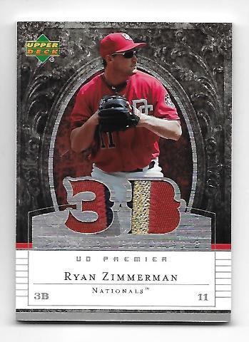 RYAN ZIMMERMAN 2007 Upper Deck Premier Patches /75 3 color Nationals