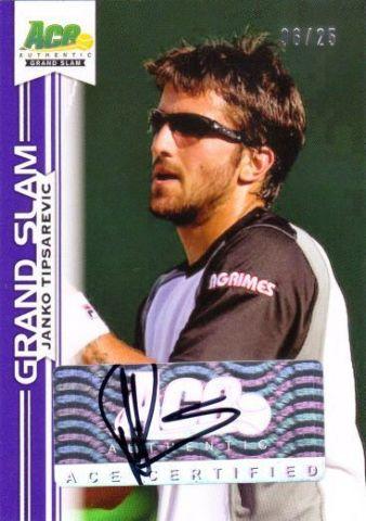 JANKO TIPSAREVIC 2013 Ace Authentic Grand Slam Purple 6/25 Tennis Auto Card