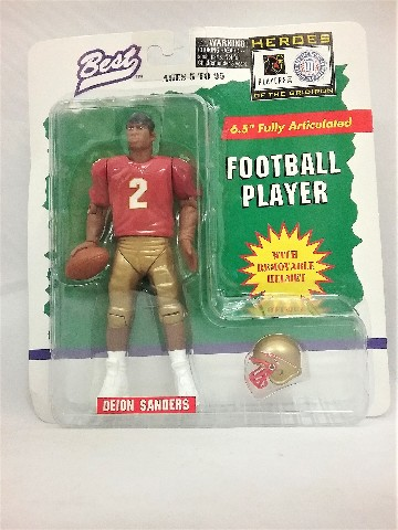 """1997 Deion Sanders Best Heroes of the Gridiron 6.5"""" Fully Articulated Removable Helmet Florida State College Football McFarlane"""