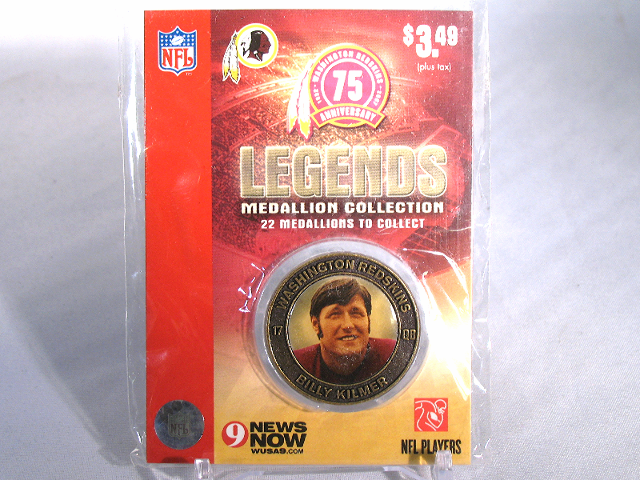 BILLY KILMER Washington Redskins Legends 2007 Collectible Medallion Coin