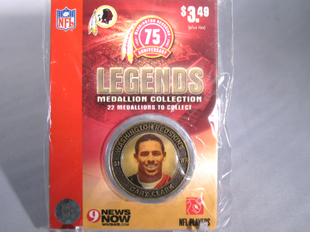 GARY CLARK Washington Redskins Legends 2007 Collectible Medallion Coin