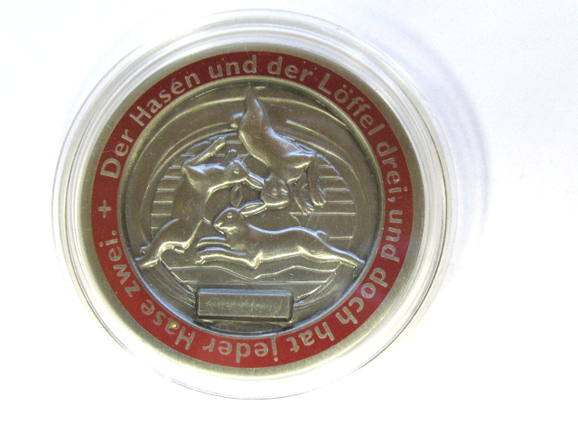 "German ""Three Hares"" Motif Hare & Spoon Geocoin Challenge Coin Geocaching"