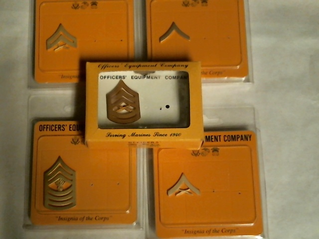 Officers Equipment Co. USMC Single Chevron Lot  Gold PFC  LCPL CPL GYSGT  MGYSGT