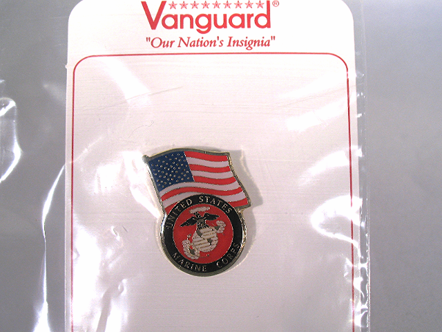 Vanguard Novelty Lapel Pin US Flag With The Marine Corps Emblem