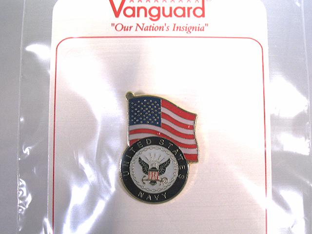 Vanguard Novelty Lapel Pin US Flag With The Navy Emblem