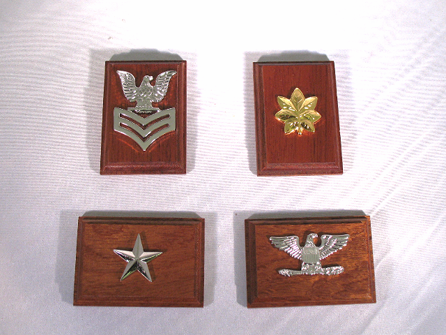Rank Insignia Mounted On Wood Display - Lot of 4 - USN CAPT LCDR RDML FCPO (E6)