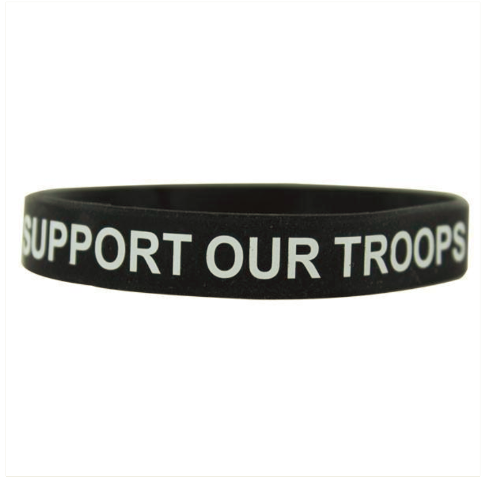 Vanguard BRACELET: SUPPORT OUR TROOPS - BLACK SILICONE