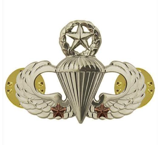 Vanguard ARMY BADGE: MASTER COMBAT PARACHUTE SECOND AWARD - MIRROR FINISH